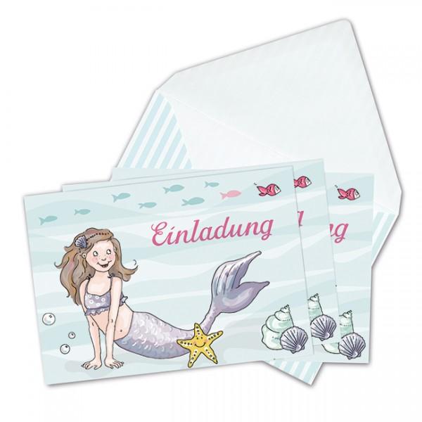 Einladungskarten Meerjungfrau Postkartenset