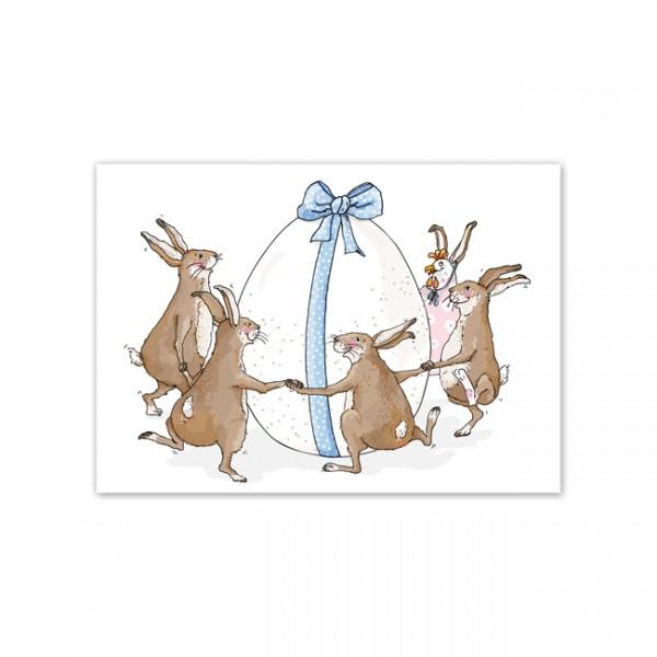 Postkarte Ringelreihen-Hasen