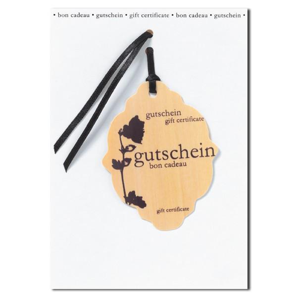 Holzblattkarte Gutschein