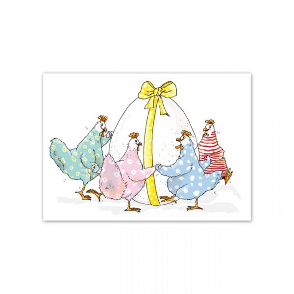 Postkarte Ringelreihen-Hühner
