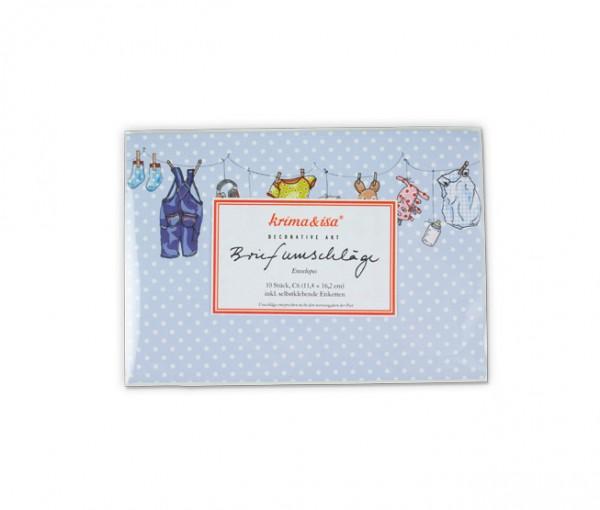 Briefumschlag Wäscheleine blau
