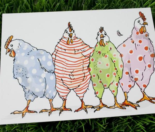Postkarte Hühner