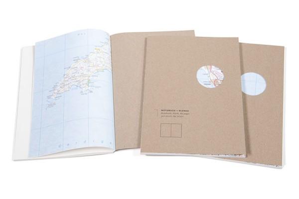 Notizbuch Landkarten Makulatur kleiner A5