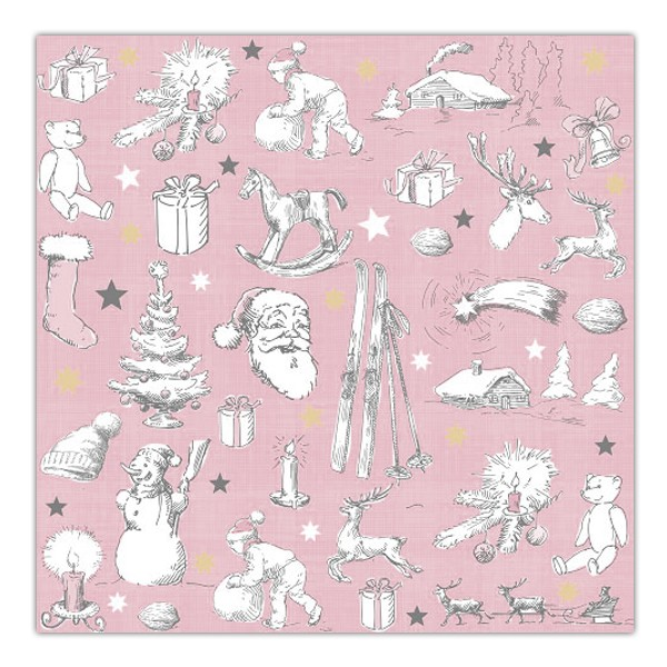 Serviette Stahlstich Weihnacht rosa