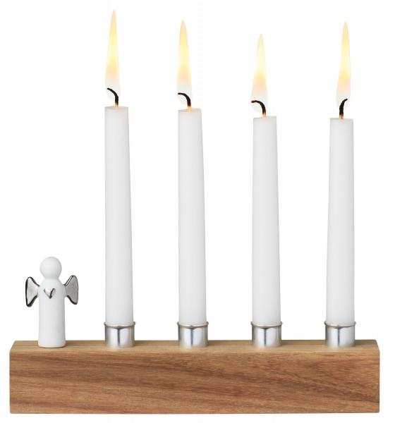 Winterzeit Adventsengel-Kerzenhalter Silber
