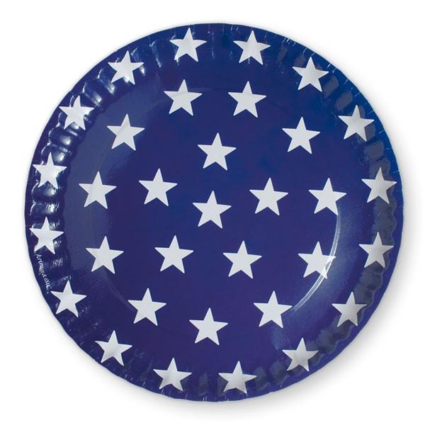Pappteller Sterne dunkelblau