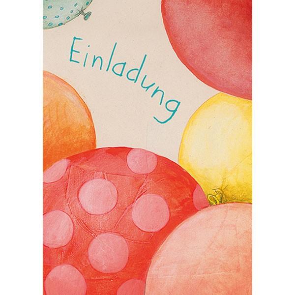 Einladungs Postkarten Block Luftballons